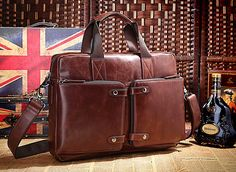 Handcrafted Leather Briefcase / Messenger / Laptop / Men's Bag in Brown-red on Etsy, $119.00