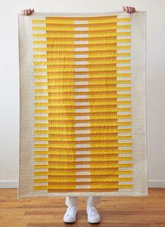 Strip Quilt Patterns, Modern Quilt Patterns, Strip Quilts, Quilt Blocks, Simple Quilt Pattern, Modern Quilting Designs, Quilt Designs, Yellow Quilts, Straight Line Quilting