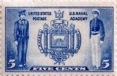 US postage stamp, 5 cents.  U.S. Naval Academy.  Issued 1937.  Scott catalog 794.