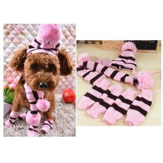Saymequeen 3pcs Stripes Dog Winter Hat Scarf and Leg Warmers Set Warm Puppy Cat Clothes Stylish Accessories >>> See this great image  (This is an amazon affiliate link. I may earn commission from it)