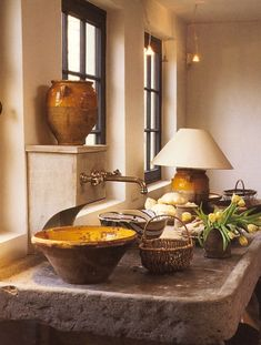 rustic kitchen of designer Axel Vervoordt