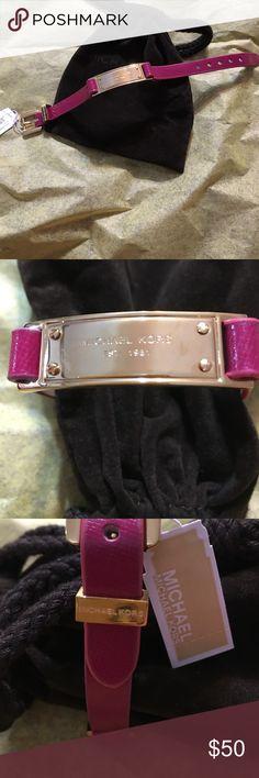 MK Fashion Bracelet❤ Michael Kors Adjustable Leather Fashion Bracelet. Brand New! With tag and pouch.😀 Fuchsia Color.❤ Michael Kors Jewelry Bracelets