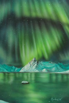 "Northern lights series "" original painting, oil and acrylics on Fabriano hot pressed cotton sheet; Nature Paintings, Watercolor Paintings, Art Nature, Air Brush Painting, Light Painting, Airbrush Art, Photorealism, Art Oil, Landscape Art"