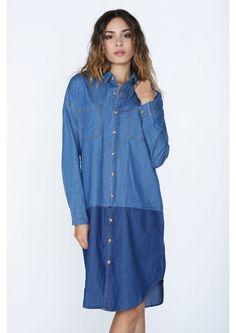 Denim Delegate Mini Shirt Dress in Blue | Necessary Clothing