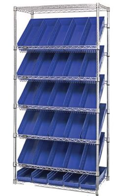 """Stationary Wire Slanted Shelving Unit 18 x 36 x 63H, 5 Shelves, 12 DG92080 Bins by Quantum. $445.29. 18""""W X 36""""L X 63""""H - outter dimension, Slanted Shelf Mobile & Stationary units enhance manufacturing & supply distribution applications. The sloped shelves allow for high visibility, productive rotations & gravity feed, For Health Care applications the slanted shelf can be used to analyze prepacked items, Build a system with your bin requirements or consult a product ..."""