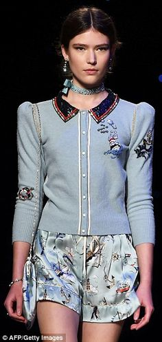 Lookin' good: The preppy collection included plenty of contract collars, cutesy details, a...