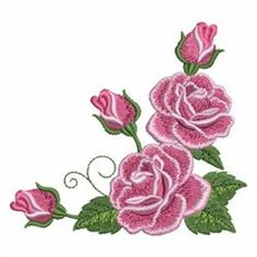 Sweet Heirloom Embroidery Design: Romantic Roses Corner 3.34 inches H x 3.72 inches W