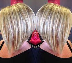Short blonde inverted bob using Olaplex by Missy Langston. Blondie's Hair Salon by amber Blonde Inverted Bob, Short Blonde Bobs, 2015 Hairstyles, Short Hairstyles For Women, Simple Hairstyles, Curly Hairstyles, Hairdos, Wedding Hairstyles, Super Short Hair