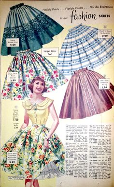Wonderfully pretty 1950s Florida Fashions circle skirts.