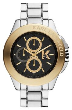 KARL LAGERFELD 'Energy' Chronograph Bracelet Watch, 44mm available at #Nordstrom
