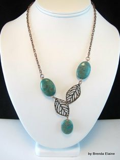 Asymmetrical Blue Sky Jasper and Leaves Necklace in Antique Copper | byBrendaElaine - Jewelry on ArtFire