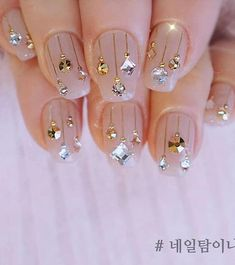 50 Amazing Festive Christmas Nail Art Designs - Cute Christmas nail design with . - in 202 50 Amazing Festive Christmas Nail Art Designs - Cute Christmas nail design with . Cute Christmas Nails, Christmas Nail Art Designs, Holiday Nails, Christmas Manicure, Silver Christmas, Christmas Design, Christmas Christmas, Christmas Ornaments, Gem Nails