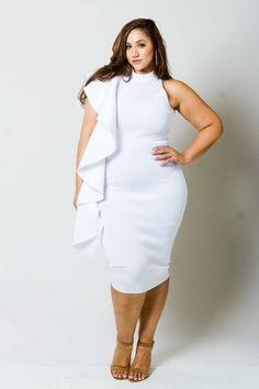 Plus Size Cascade Ruffle Dress