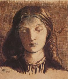 Elizabeth Siddal, wife of Rossetti, artist's model and one of those puzzling fade-away Victorian beauties.  An intriguing woman.