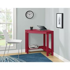 This Red Corner Writing Laptop Desk with Drawer - Great for Small Spaces allows you to optimize your workspace and that empty corner in your office or den with its convenient triangle shape. This Corn