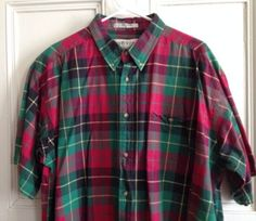 Orvis Shirt Mens Size XL Red Cotton Plaid Short Sleeve Button Front
