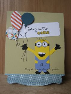 Pop N Cuts Stampinup base & dress insert, Chalk Talk Framelits, Bring on the Cake stamp set Minion card.