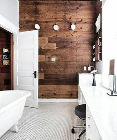 Modern Wooden Bathroom Designs Ideas white furniture and dark wooden walls (my ideal home) Estilo Interior, Home Interior, Bathroom Interior, Modern Bathroom, Wood Bathroom, Bathroom Ideas, Bathroom Designs, Attic Bathroom, Washroom