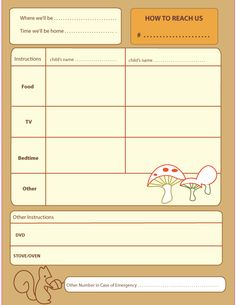 Babysitter checklist with schedule   For the Home   Pinterest ...