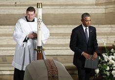 beau biden funeral | President Barack Obama leaves after delivering the eulogy during ...