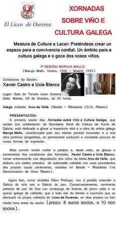 Xornadas sobre viño e cultura galega @ Liceo - Ourense Maruja Mallo vino enología enoloxía