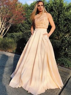 A-Line Champagne Two Piece Satin Beading | burgundypromdress Prom Dresses 2017, Sexy Dresses, Dresses For Sale, Beautiful Dresses, Girls Dresses, Prom Outfits, Prom Dresses With Pockets, Mermaid Evening Dresses, Evening Outfits