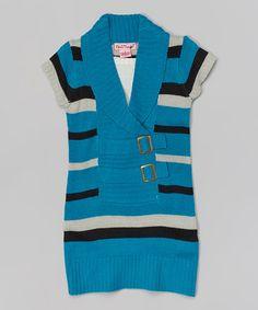 Look at this #zulilyfind! Turquoise Stripe Shawl Collar Sweater Dress - Toddler & Girls by Pink Angel #zulilyfinds