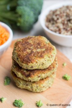 The classic broccoli-cheddar combo has been recreated, but with a vegan twist and turned into quinoa burgers. They're just as god as they sound.