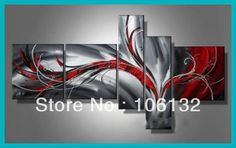I need this one too!!! Framed 5 Panel Large High End Black White and Red Abstract Painting Canvas Picture Wall Art Home Decor A0173 $199.00