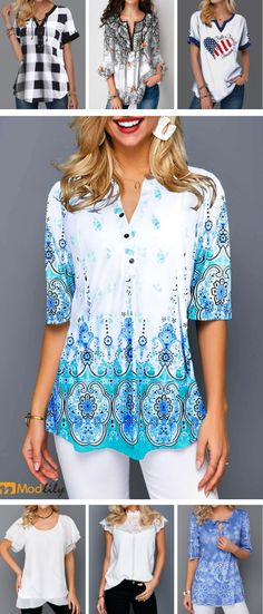 Summer is coming. Short sleeve blouse is outfit. Modlily has all kinds of tops. You will like it.