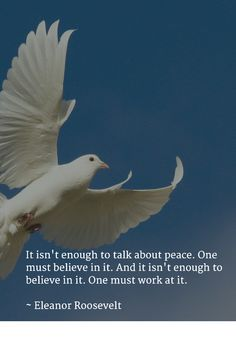 It isn't enough to talk about peace. One must believe in it. And it isn't enough to believe in it. One must work at it.   ~ Eleanor Roosevelt