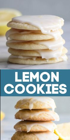 Soft and chewy Lemon Cookies. Bursting with flavor thanks to using fresh lemon juice and zest! This easy cookie recipe is perfect! Soft bakery style lemon cookies with a lemon zest glaze Easy Cookie Recipes, Baking Recipes, Dessert Recipes, Kitchen Recipes, Breakfast Recipes, Dinner Recipes, Sugar Cookies Recipe, Yummy Cookies, Cookies Soft