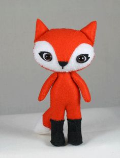 Plush felt red fox stuffed animal-pocket toy by TeenyTails on Etsy