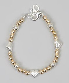 Another great find on #zulily! Gold & Silver Heart Bead Bracelet by Crystal Dream #zulilyfinds