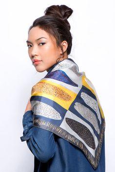 Silk twill scarf, Square silk scarf, Printed scraf, African scarf, Italian silk scarf, Grey,Yellow, Blue, Designer scarf by Dikla Levsky