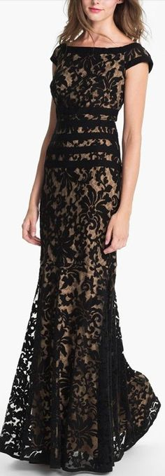 Tadashi Shoji Textured Lace Gown