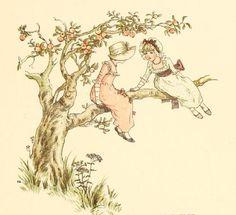 Kate Greenaway In An Apple Tree ~ Free Vintage Storybook Illustration Art And Illustration, Watercolor Illustration, Vintage Illustrations, Vintage Postcards, Vintage Images, Vintage Art, Tree Canvas, Canvas Art, Garden Pictures