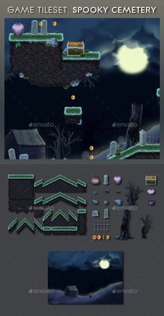 Platform Game Tileset 13: Spooky Cemetery — Photoshop PSD #high definition #tileset • Download here → https://graphicriver.net/item/platform-game-tileset-13-spooky-cemetery/9204272?ref=pxcr