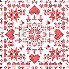 Vector: Scandinavian style Nordic winter stich , knitting seamless pattern in the square shape including snowflakes, xmas gifts, xmas trees, hearts and Decorative elements in red Cross Stitch Pillow, Cross Stitch Heart, Cross Stitch Borders, Cross Stitch Designs, Cross Stitch Patterns, Quilt Patterns, Scandinavian Style, Scandinavian Quilts, Scandinavian Embroidery