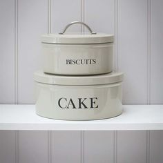 These stackable cake and biscuit tins are finished in a subtle clay colouring that will complement any kitchen.