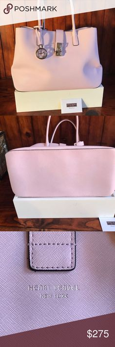 """New Pink Henri Bendel Leather Tote Bag w Lock Firm Great shade of PINK! This new bag measures 16"""" x 11"""" x 9"""" but side snap shut for a narrower look. Spotless, cute striped lining so you can find everything.. Very light weight which is so important. Adorable chrome lock and removable  HB charm. Henri Bendel was a fearless innovator, a leading arbiter of women's fashion, and a passionate explorer of the New and the Next. Can to New York in the late 1800s to open his own shop in Greenwich…"""