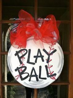 During baseball season ⚾️ Play Ball Door Hanger Bronwyn Hanahan Art by BronwynHanahanArt Burlap Crafts, Wood Crafts, Baseball Crafts, Baseball Mom, Softball, Baseball Party, Volleyball, Baseball Wreaths, Baseball Girlfriend