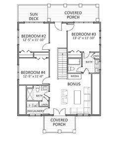 2nd Floor image of Featured House Plan: PBH - 9635