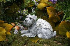 Schnauzer Dog Angel Statue Pet Memorial Garden by PhenomeGNOME