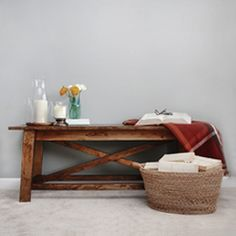 A fabulous bench with rustic flair.  Inspired by Ana White.