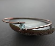 Copper bangle bracelet with aquamarine stone  by IngoDesign