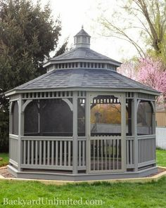 14' Painted Dutch Style Wood Octagon Gazebo with Screen Package, Pagoda Roof and Cupola http://www.backyardunlimited.com/gazebos.php