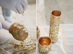 Glitter Glam DIY centerpieces with old cheap vases, spray paint, spray adhesive and Glitter! love it diy gold Glitter Glam DIY Centerpieces by La Lune Events - Apple Brides Gold Diy, Glitter Centerpieces, Quinceanera Centerpieces, Do It Yourself Wedding, Diy Wedding, Wedding Ideas, Trendy Wedding, Wedding Table, Wedding Reception