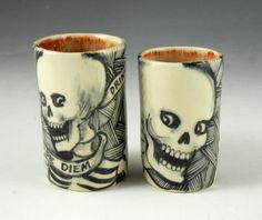 Pair of black and white porcelain skeleton por PSPorcelain en Etsy
