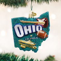 Old World Christmast STATE OF OHIO, $17.99.  Ohio dons its name from the Ohio River and is a highly populated Midwestern state. The Buckeye State is known as the Mother of Presidents: as 8 US Presidents hail from Ohio. Here, the Wright Brothers invented the airplane and the Ohio State is its largest university. Ohio is the home to the Pro Football and Rock and Roll Hall of Fames.